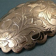 SALE PENDING Vintage Etched Sterling Silver Brooch Scalloped Edges