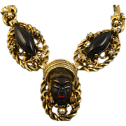REDUCED Vintage Selro Blackamoor Necklace - Unsigned
