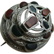 REDUCED Superb Victorian Scottish Engraved Five Tiered Silver Agate Brooch