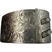Rare Art Nouveau Engraved Birmingham Sterling Cuff Bracelet - Superb