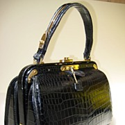 SOLD Rare French Lederer de Paris Vintage Porosus Crocodile Handbag 1950's ~ 60s