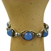 REDUCED Modernist Herman Siersbol Chalcedony Sterling Bracelet ~ 1960s