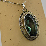 SOLD Art Deco Theodor Fahrner Gilded Sterling, Tourmaline Pendent & Chain ~ c1920s