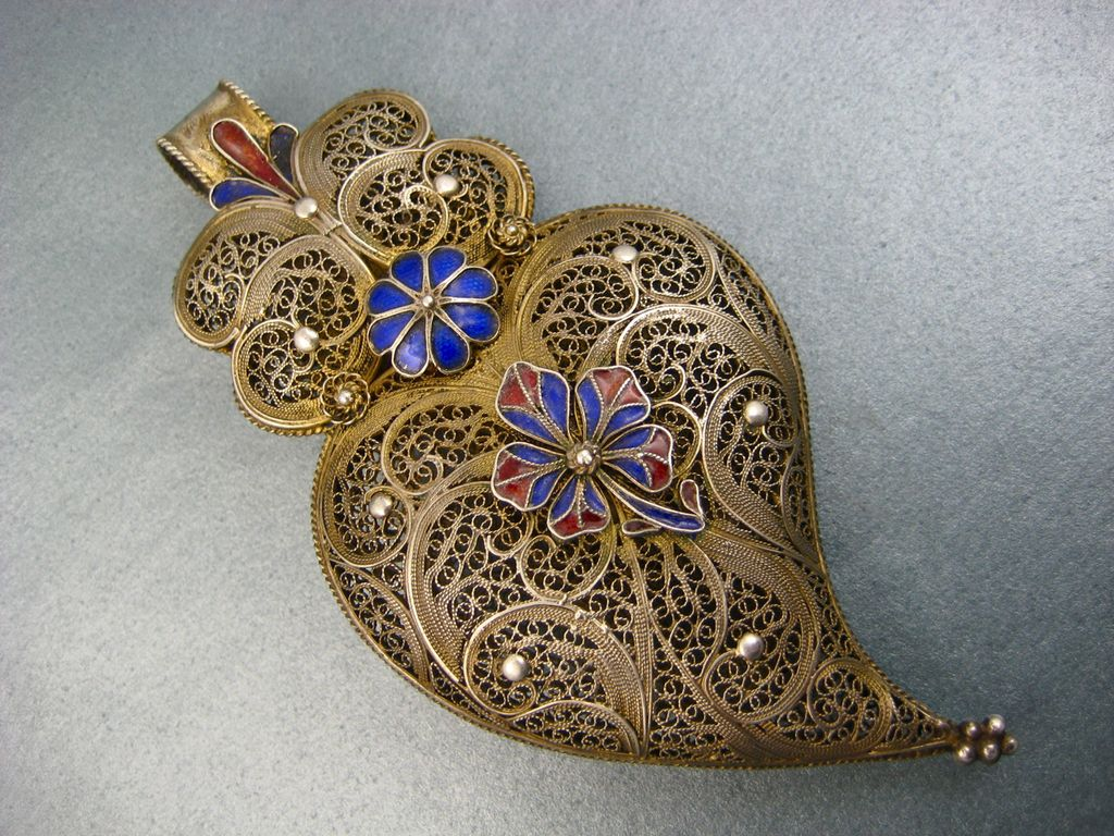 Antique French Filigree Witches Heart Pendant ~ Gilded With Enamel Flowers ~ c. 1850