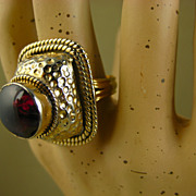 REDUCED Superb Vintage Domed Garnet Cocktail Ring ~ 1970s