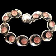 SOLD N. E From Danish Modernist Sterling and Rose Quartz Bracelet ~ 1960s