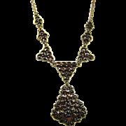 Antique Garnet Necklace Vermeil Silver ~ Art Nouveau c 1910