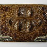 SOLD Superb Art Deco Hornback Crocodile Sterling Vintage Purse ~ c1940s