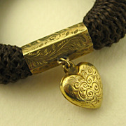 Antique Finely Woven Hair Mourning or Sentimental Bracelet & Chased Gold Heart ~ c1850