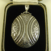 SOLD Superb Antique Victorian English Sterling Silver Locket ~ c1881