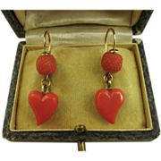 REDUCED Rare Superb Victorian Coral & 9k Gold Witches Heart Earrings ~ c1890 -1900