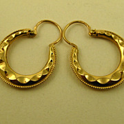 SOLD Superb French Creole 18k Gold Earrings ~ c1910