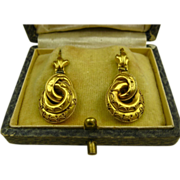 Superb Antique 15K Gold Victorian Etruscan Revival Earrings ~ c1870