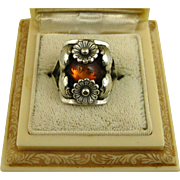 REDUCED Vintage Niels Erik From Floral Sterling Silver & Amber Ring ~ c1950s