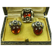 Rare Vintage Set Niels Erik From Floral Sterling Silver & Amber Ring & Earrings ~ c1950s