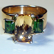 SALE Vintage Imperial Topaz & Tourmaline Ring