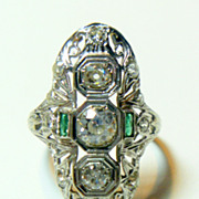 REDUCED Vintage Art Deco 20 K White Gold Diamond &     Emerald Ring