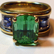 REDUCED Vintage Bi-color 18 K Mint Green Tourmaline & Sapphire Ring