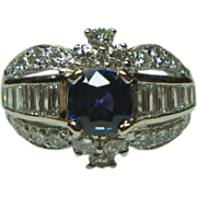 REDUCED Vintage Sapphire, Diamond and Platinum Ring
