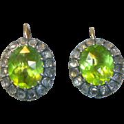 SOLD Antique Peridot and Rose Cut Diamond Earrings