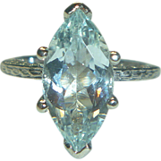 REDUCED Vintage Marquise-cut Aqua & 14K White Gold Ring
