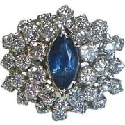 REDUCED Sapphire, Diamond & 14 K White Gold Cluster Ring