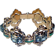 REDUCED Antique Victorian Rose Gold, Diamond & Emerald Bracelet.
