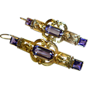 REDUCED Antique Victorian Amethyst & 14 K Gold Pendant Earrings