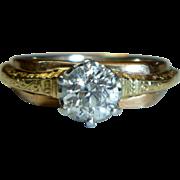 REDUCED Vintage Tri-color Mine-cut Half Carat Diamond Ring