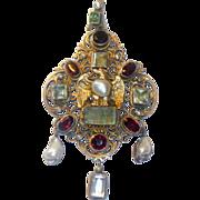REDUCED Antique Austro Hungarian Large Pendant
