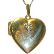 REDUCED Vintage 14K Gold & Diamond Heart Necklace