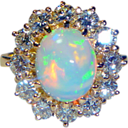 REDUCED Vintage Opal & Diamond 18K Ring