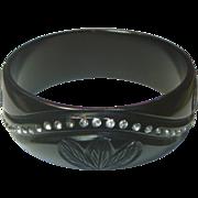 REDUCED Vintage Black Bakelite & Rhinestone Bracelet