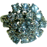 REDUCED Vintage Diamond Cluster and 14K White Gold Ring