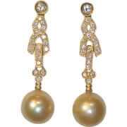 SOLD Vintage South Sea Golden Cultured Pearl Diamond Earrings