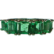 REDUCED Vintage Emerald-cut Emeralds14K White Gold Ring