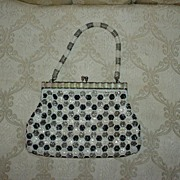 SALE Vintage Black and White Beaded Purse