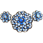 REDUCED Signed Weiss Blue Rhinestone Parure