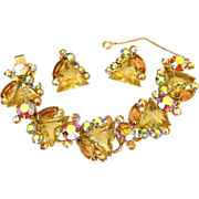 Vintage Juliana Kite Rhinestone Bracelet and Earrings