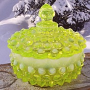 Fenton Topaz Opalescent Hobnail Flat Candy Jar--Scarce