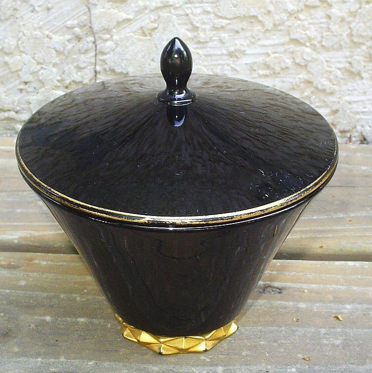 Fostoria Diadem Art Deco Black Candy Jar W/Crown Gold Decoration