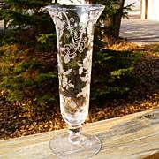 "Cambridge Elaine Etched 6004 8"" Flower Vase"