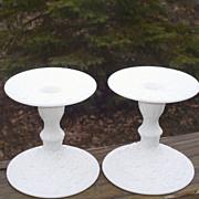 Westmoreland  Bramble/Maple Leaf Milk Glass Candle Holders