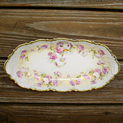 SOLD Coronet Limoges Celery Dish Roses & Heavy Gold