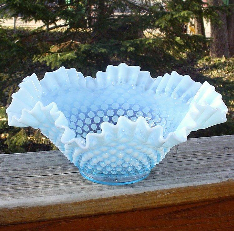 """Fenton Blue Opalescent 9"""" Double Crimped Bowl"""