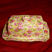 SOLD Royal Winton Butter Dish English Rose Pink/Multi  Grimwades Chintz