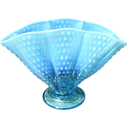 Fenton Blue Opalescent Hobnail Lg Scalloped Fan Vase