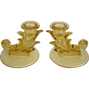 SOLD Fostoria Baroque Topaz Yellow/Gold Tint Candleholders