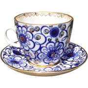 Flow Blue Cup & Saucer USSR Russian