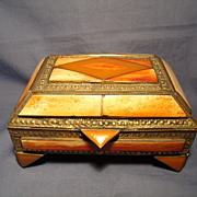 Vintage Horn Inlay Brass Box